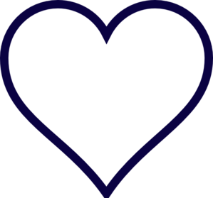 Midnight Blue Outline Heart Clipart png free, Midnight Blue Outline Heart transparent png