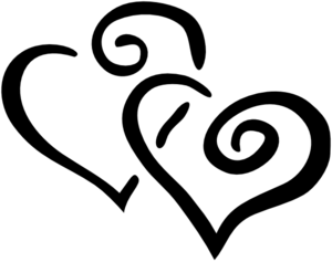 Black Intertwined Hearts Clipart png free, Black Intertwined Hearts transparent png