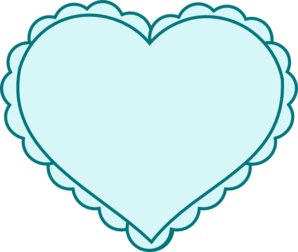 Teal Heart With Lace Outline Clipart png free, Teal Heart With Lace Outline transparent png
