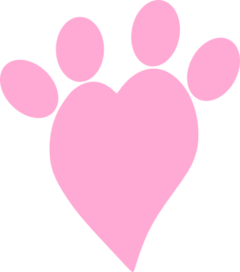 Pink Heart Paw Clipart png free, Pink Heart Paw transparent png