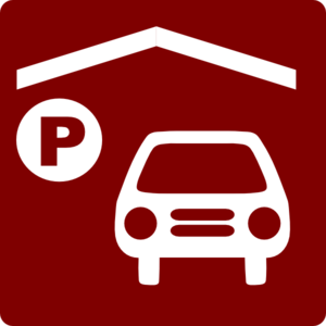 Hotel Icon Has Indoor Parking Clip Art - Red/White Clipart png free, Hotel Icon Has Indoor Parking Clip Art - Red/White transparent png