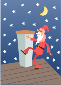 Santa Climbing Chimney Clipart png free, Santa Climbing Chimney transparent png
