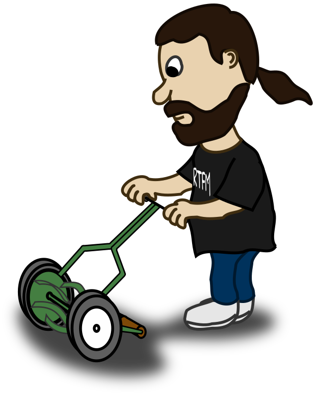 Comic Characters: Guy Pushing Reel Mower Clipart png free, Comic Characters: Guy Pushing Reel Mower transparent png