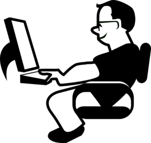 Man Using Computer Clipart png free, Man Using Computer transparent png