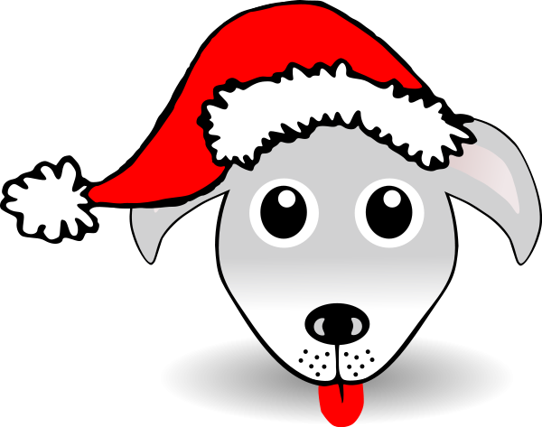 Funny Dog Face Grey Cartoon With Santa Claus Hat Clipart png free, Funny Dog Face Grey Cartoon With Santa Claus Hat transparent png