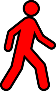 Red Walking Man With Black Outline Clipart png free, Red Walking Man With Black Outline transparent png