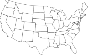 Black And White U.S. Map Clipart png free, Black And White U.S. Map transparent png