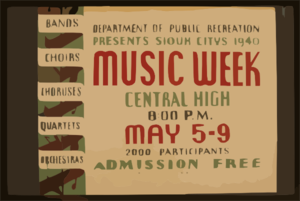 Department Of Public Recreation Presents Sioux Citys [Sic] 1940 Music Week Bands, Choirs, Choruses, Quartets, Orchestras. Clipart png free, Department Of Public Recreation Presents Sioux Citys [Sic] 1940 Music Week Bands, Choirs, Choruses, Quartets, Orchestras. transparent png