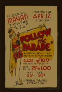 Federal Mayan Theatre, Hill At 11Th St., [Presents]  Follow The Parade  A Musical Revue As Modern As Tomorrow. Clipart png free, Federal Mayan Theatre, Hill At 11Th St., [Presents]  Follow The Parade  A Musical Revue As Modern As Tomorrow. transparent png