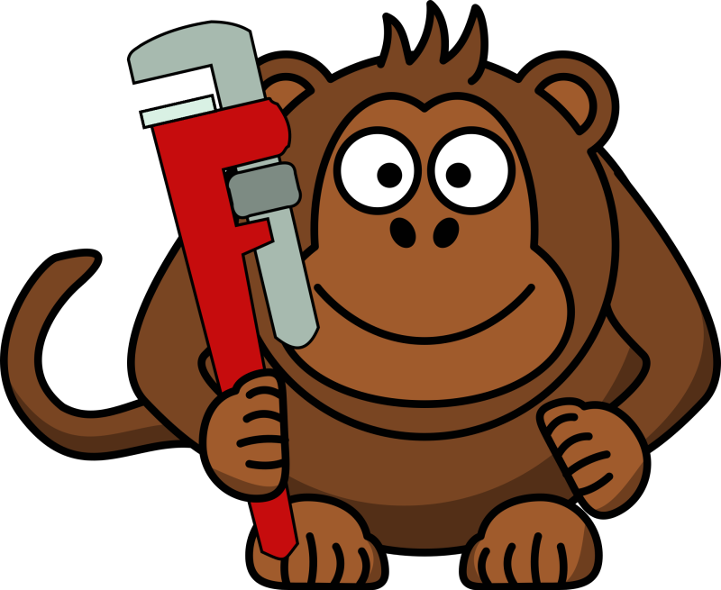 Cartoon Monkey With Wrench Clipart png free, Cartoon Monkey With Wrench transparent png