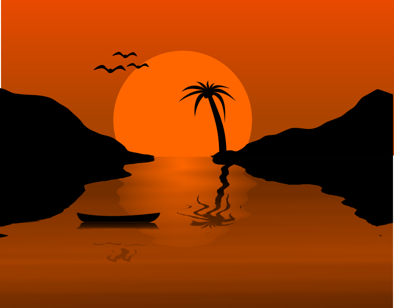 Sunset Waterscene Clipart png free, Sunset Waterscene transparent png