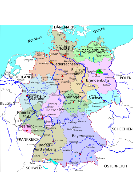 Political Map Of Germany 2 Clipart png free, Political Map Of Germany 2 transparent png