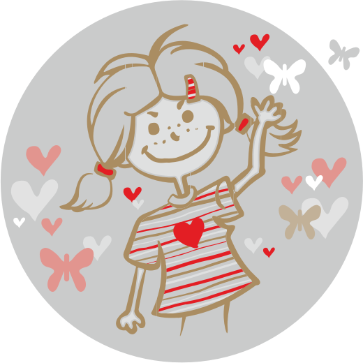 Girl And Flying Hearts Clipart png free, Girl And Flying Hearts transparent png