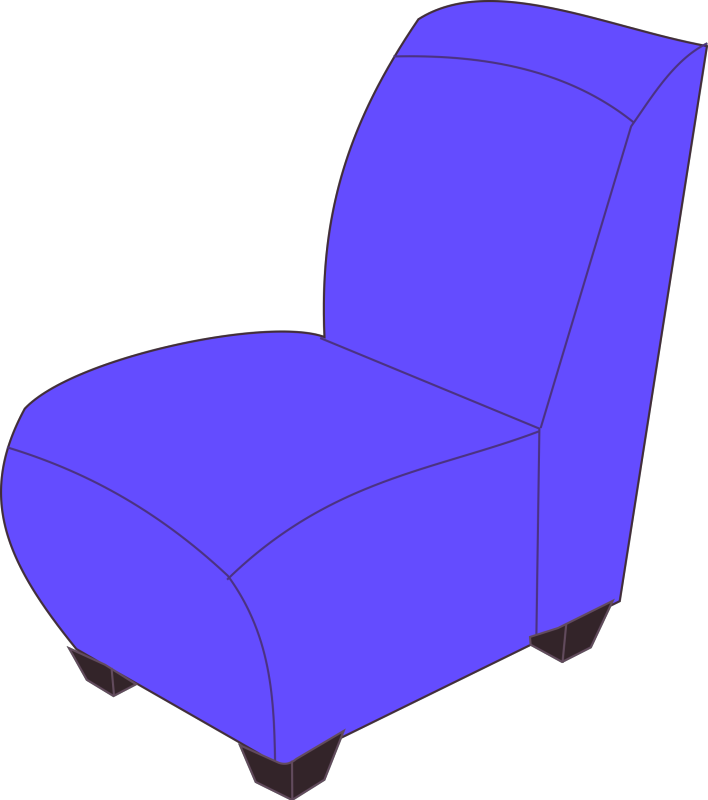 Blue Armless Chair Clipart png free, Blue Armless Chair transparent png