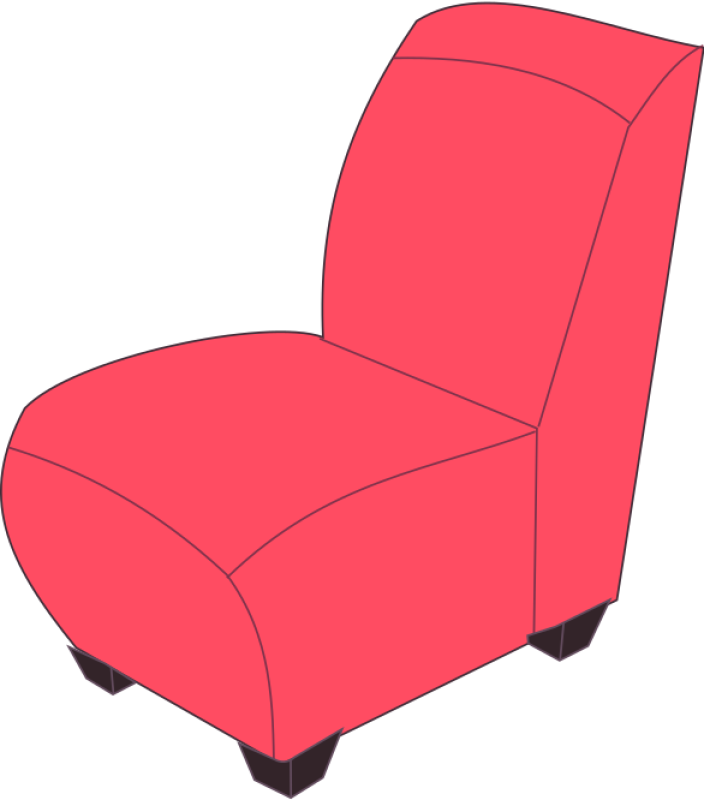 Red Armless Chair Clipart png free, Red Armless Chair transparent png