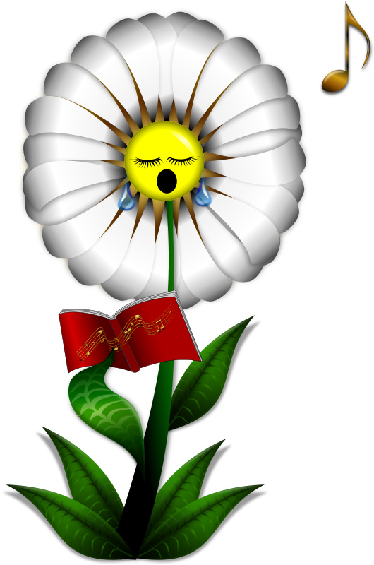Singing Daisy Clipart png free, Singing Daisy transparent png