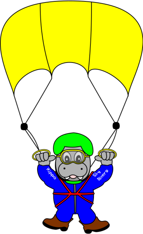 Sky Diver Hippo Clipart png free, Sky Diver Hippo transparent png