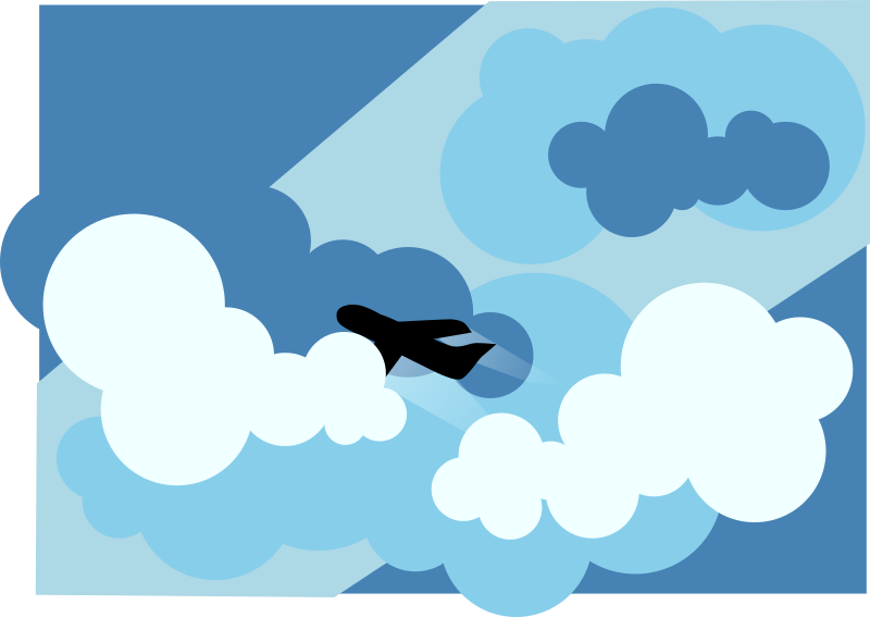 Plane Silhouette Flying Through Clouds Clipart png free, Plane Silhouette Flying Through Clouds transparent png