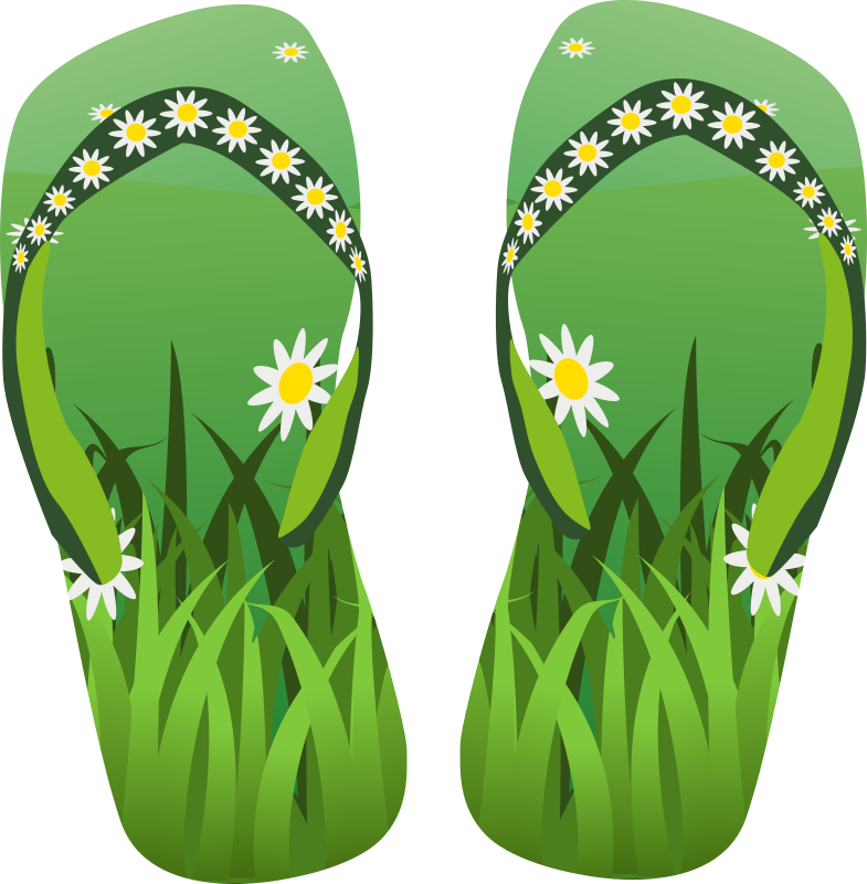 Thong Green With Grass And Flowers Clipart png free, Thong Green With Grass And Flowers transparent png