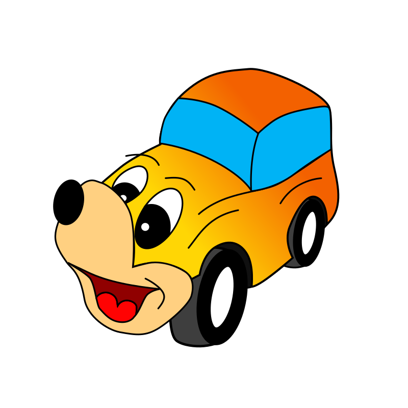 Comic Yellow Car Clipart png free, Comic Yellow Car transparent png