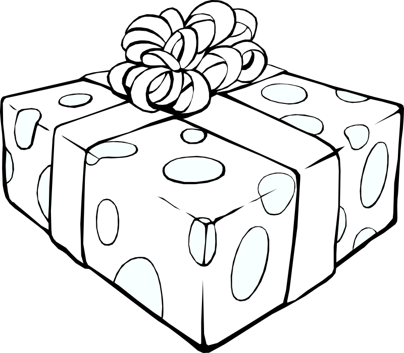 Gift Line Art Clipart png free, Gift Line Art transparent png