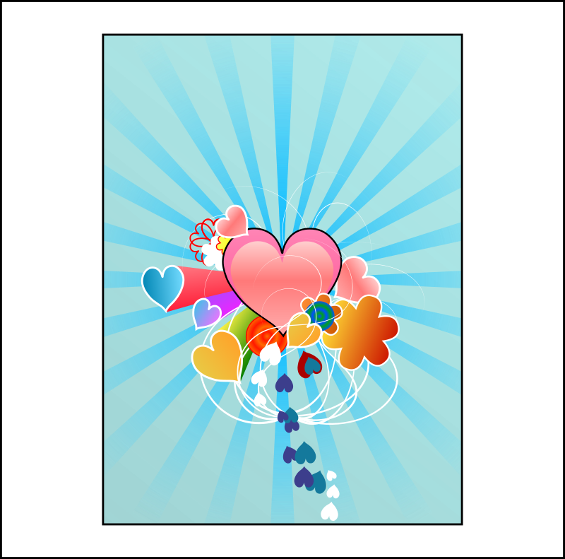 Hearts With Blue Rays Clipart png free, Hearts With Blue Rays transparent png