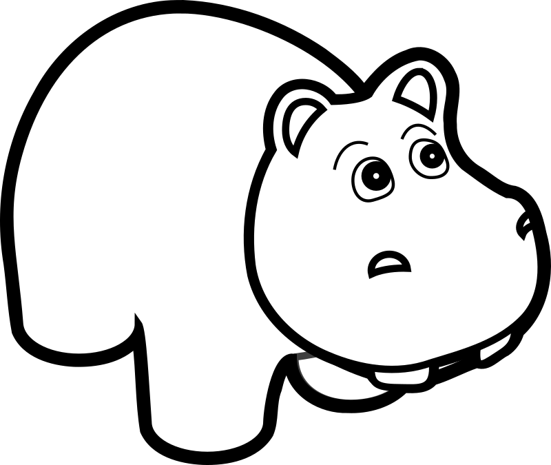 Hippo Line Art Clipart png free, Hippo Line Art transparent png