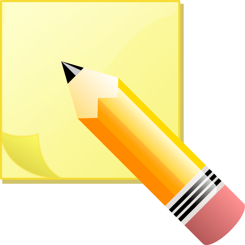 Sticky Note Pad And Pencil Clipart png free, Sticky Note Pad And Pencil transparent png