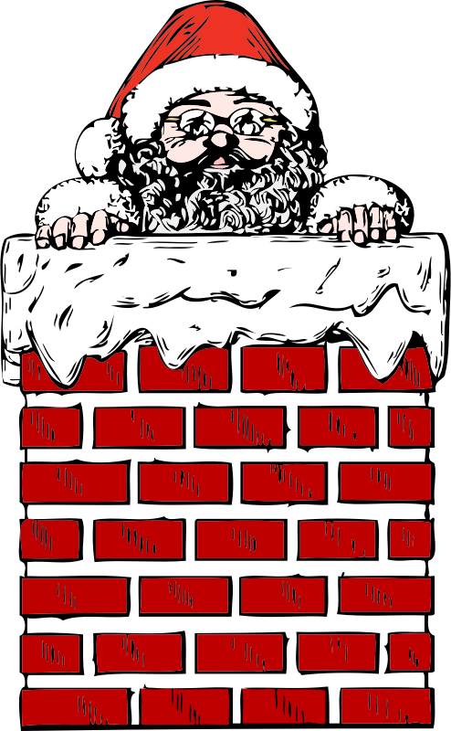 Santa In A Chimney Clipart png free, Santa In A Chimney transparent png