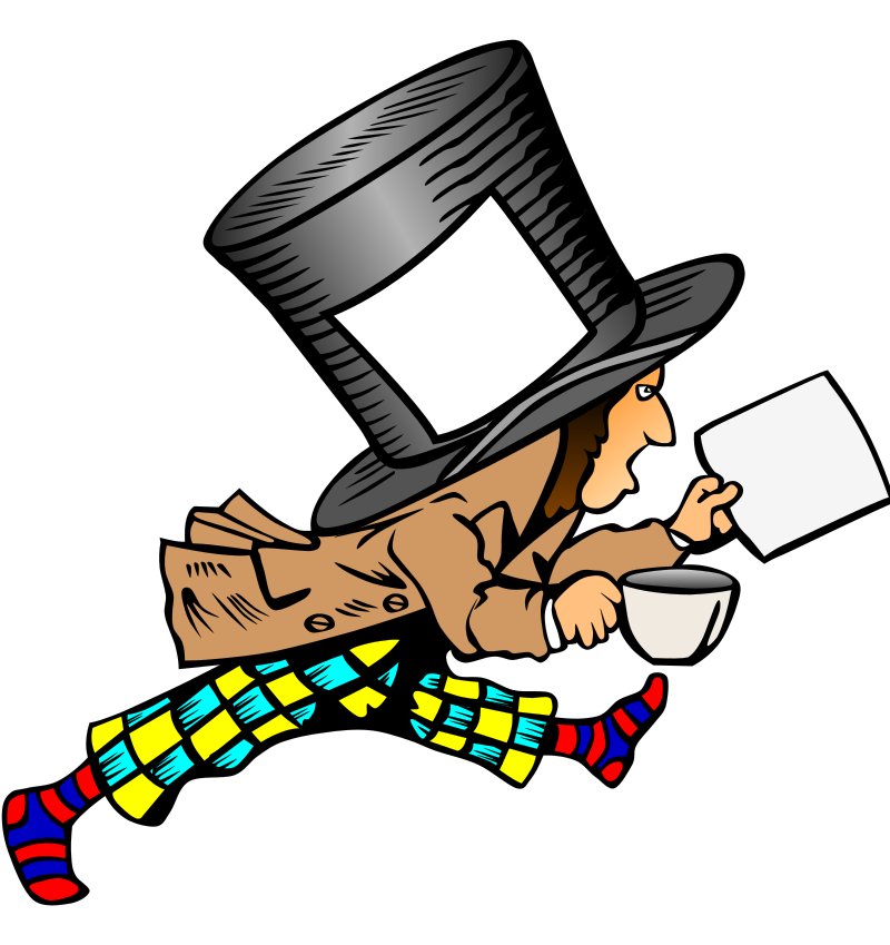 Mad Hatter With Clean Label On Hat Holding Paper Clipart png free, Mad Hatter With Clean Label On Hat Holding Paper transparent png