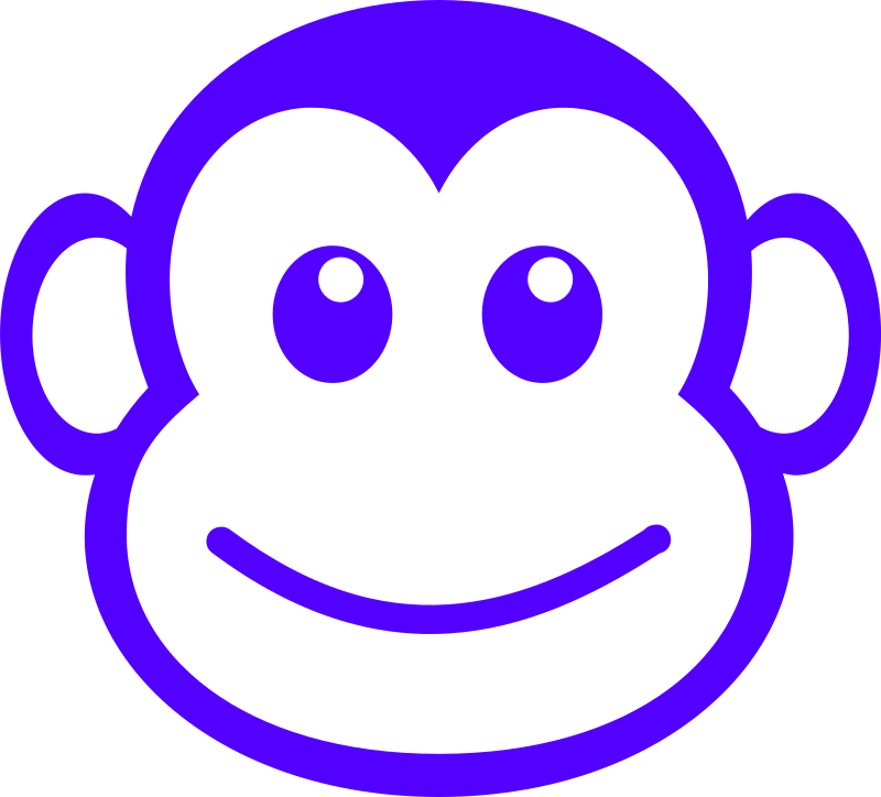 Funny Monkey Face Simple Path Clipart png free, Funny Monkey Face Simple Path transparent png