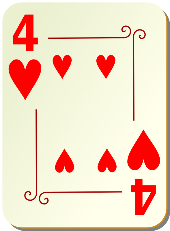 Ornamental Deck: 4 Of Hearts Clipart png free, Ornamental Deck: 4 Of Hearts transparent png