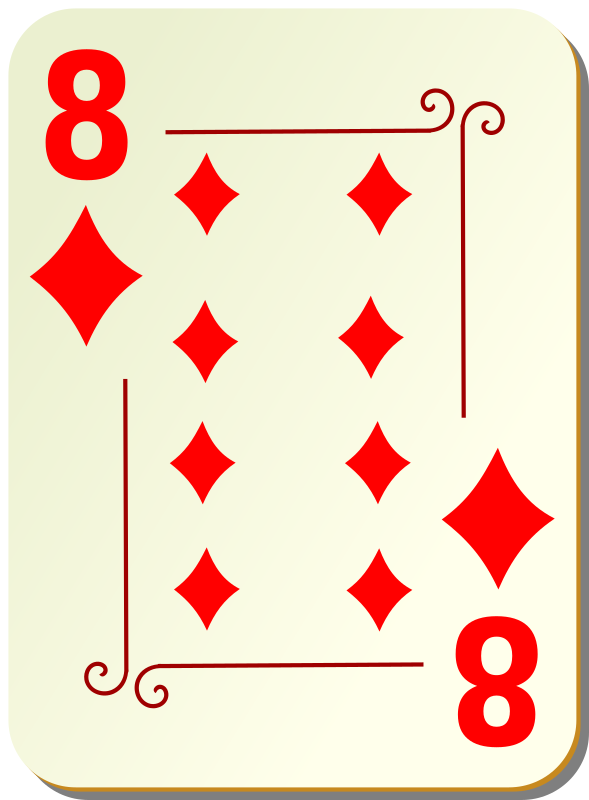 Ornamental Deck: 8 Of Diamonds Clipart png free, Ornamental Deck: 8 Of Diamonds transparent png