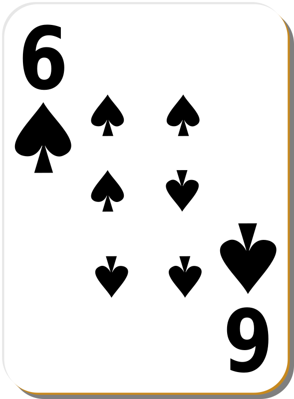 White Deck: 6 Of Spades Clipart png free, White Deck: 6 Of Spades transparent png