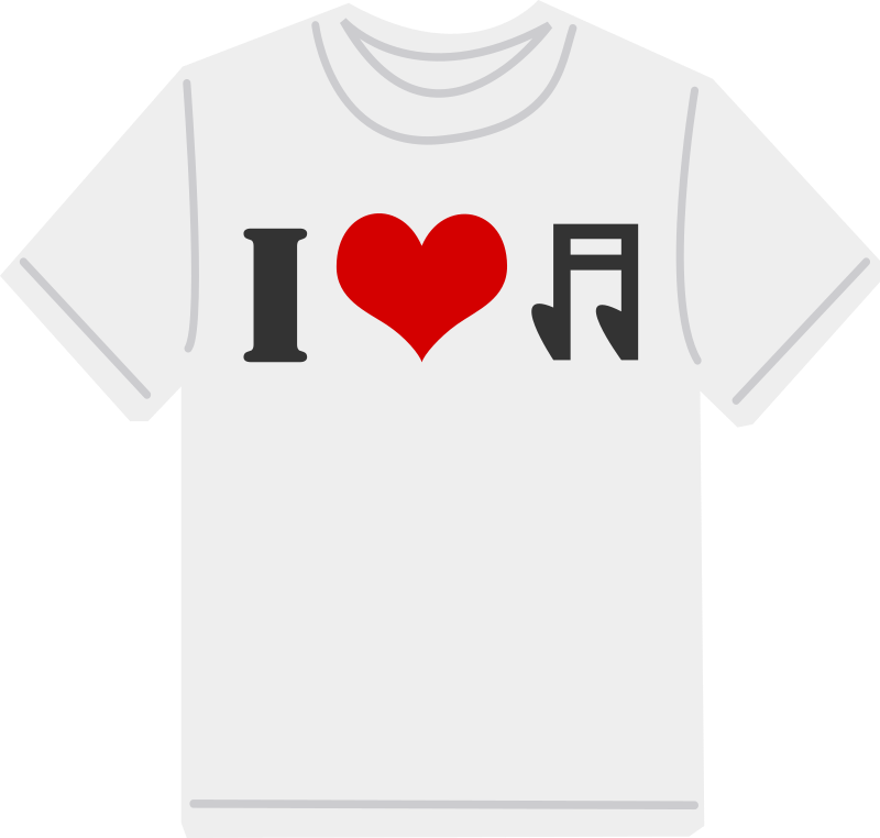 I Love Music T-Shirt Clipart png free, I Love Music T-Shirt transparent png