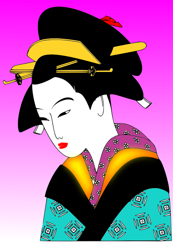 Japan Woman Svg Clipart png free, Japan Woman Svg transparent png